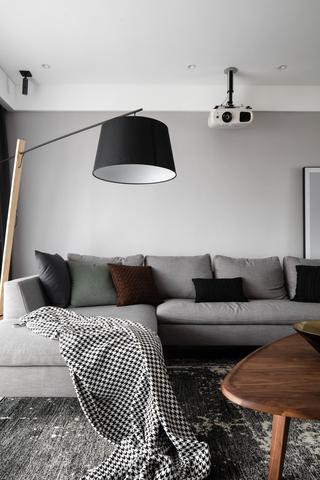 143平现代简约三居灰色沙发效果图