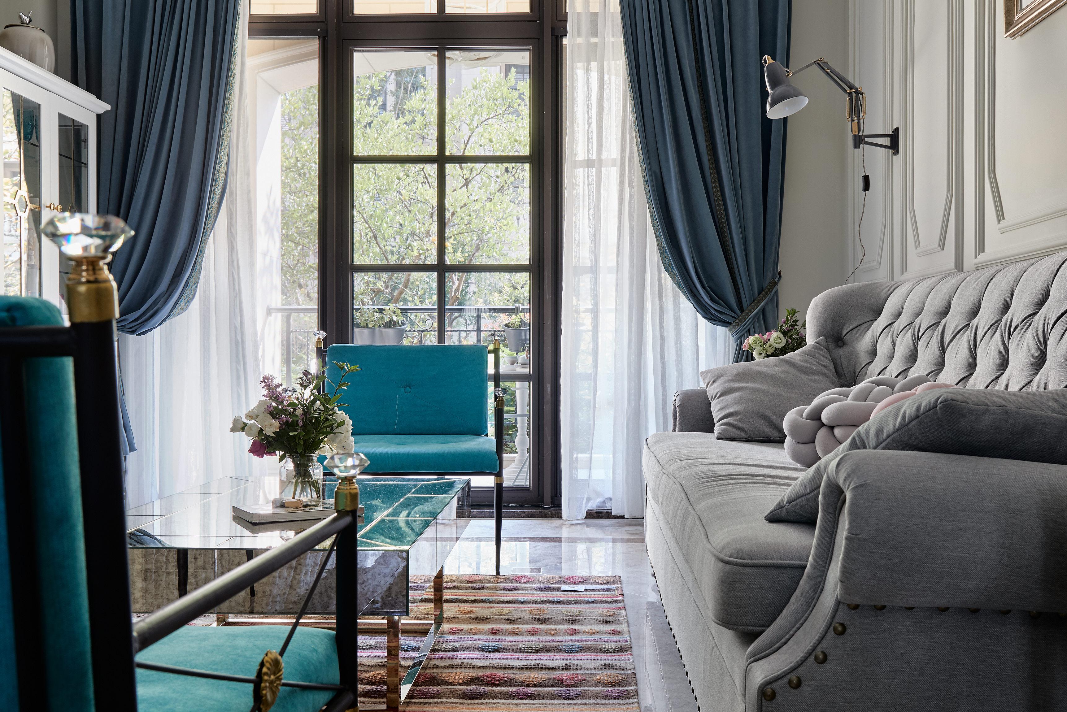 大户型法式混搭装修客厅窗帘设计图