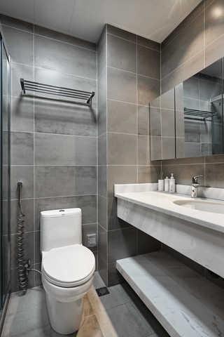 89平清新北欧三居灰色卫生间装修效果图