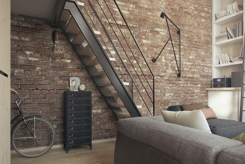 小户型Loft公寓装修楼梯效果图