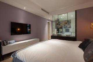 145平现代风格三居装修卧室电视柜设计