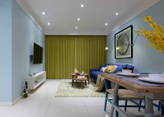 小户型清新北欧风装修黄色窗帘设计