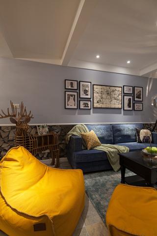 美式混搭三居室装修懒人沙发布置