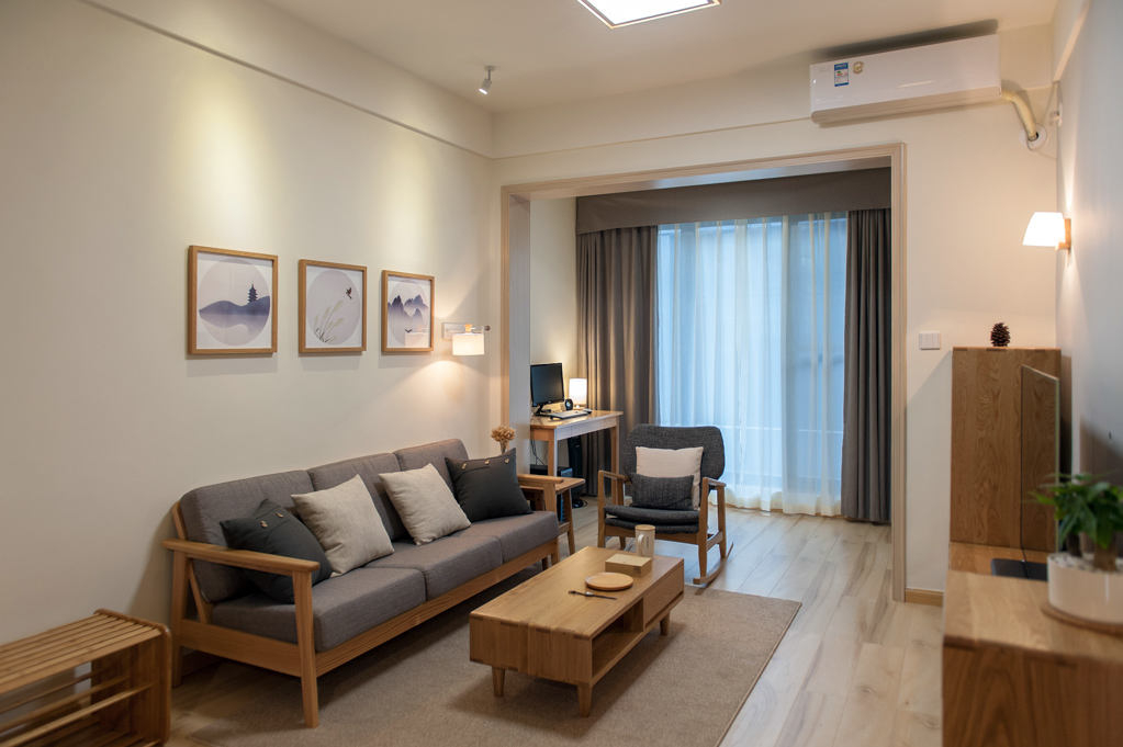 80㎡日式风格三居客厅装修效果图