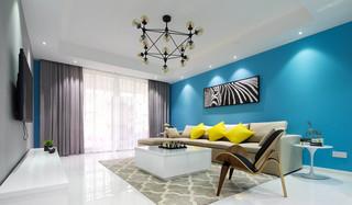 现代简约风蓝色沙发背景墙装修效果图