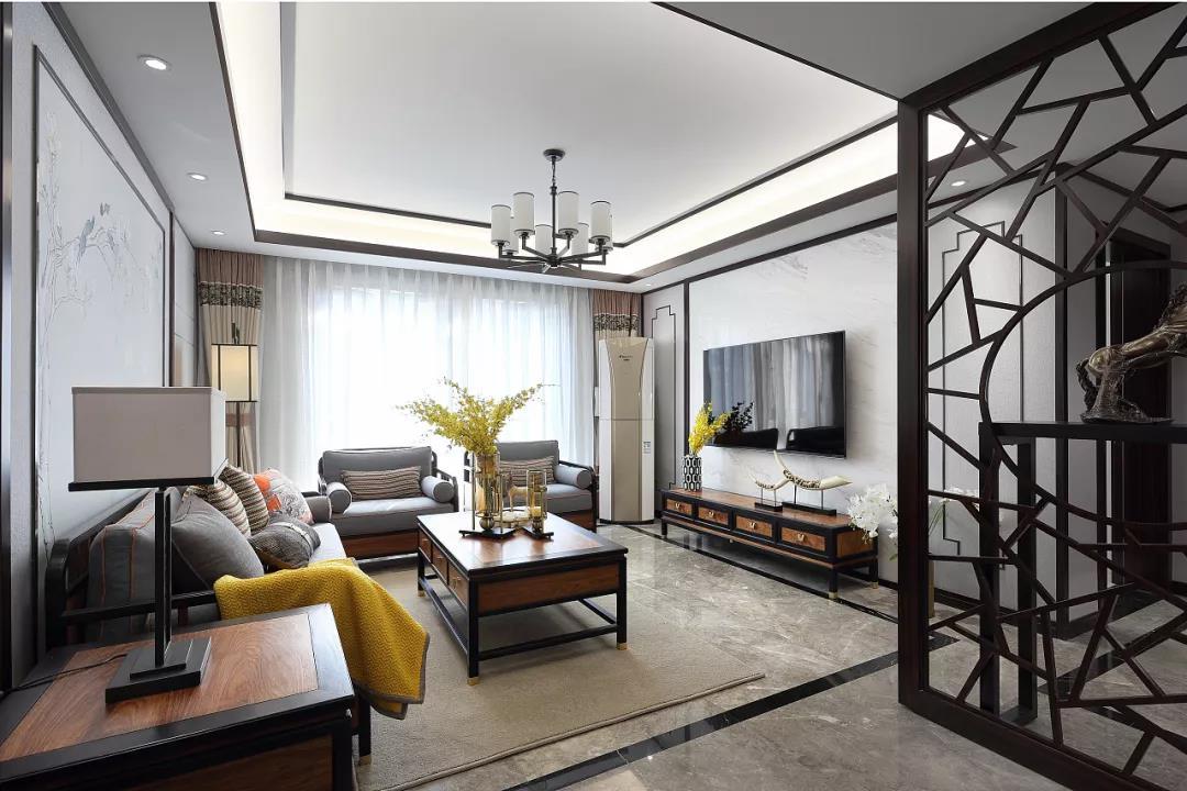 新中式风格大户型客厅吊顶装修设计图