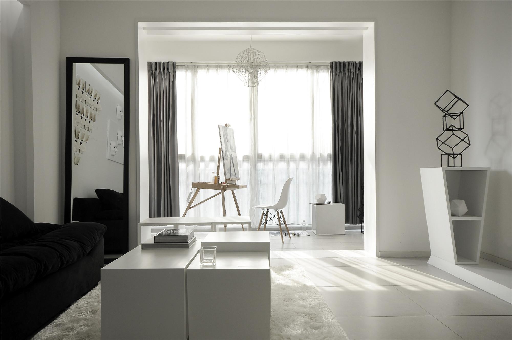黑白极简风格客厅装修效果图
