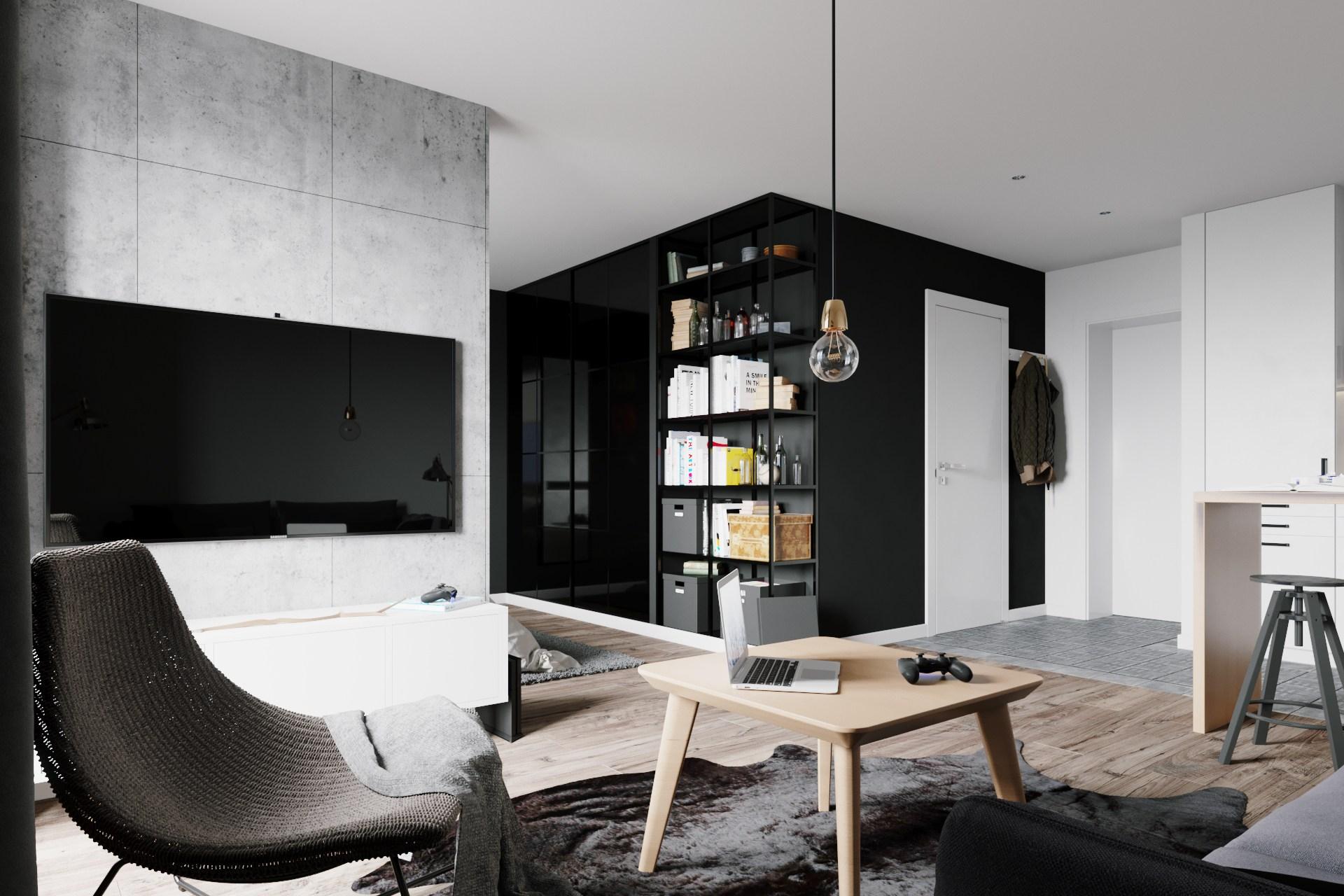 黑白灰北欧风公寓装修效果图