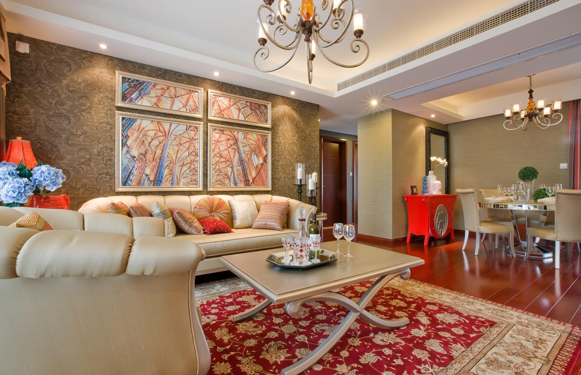 120平米简欧风格沙发背景墙装修效果图