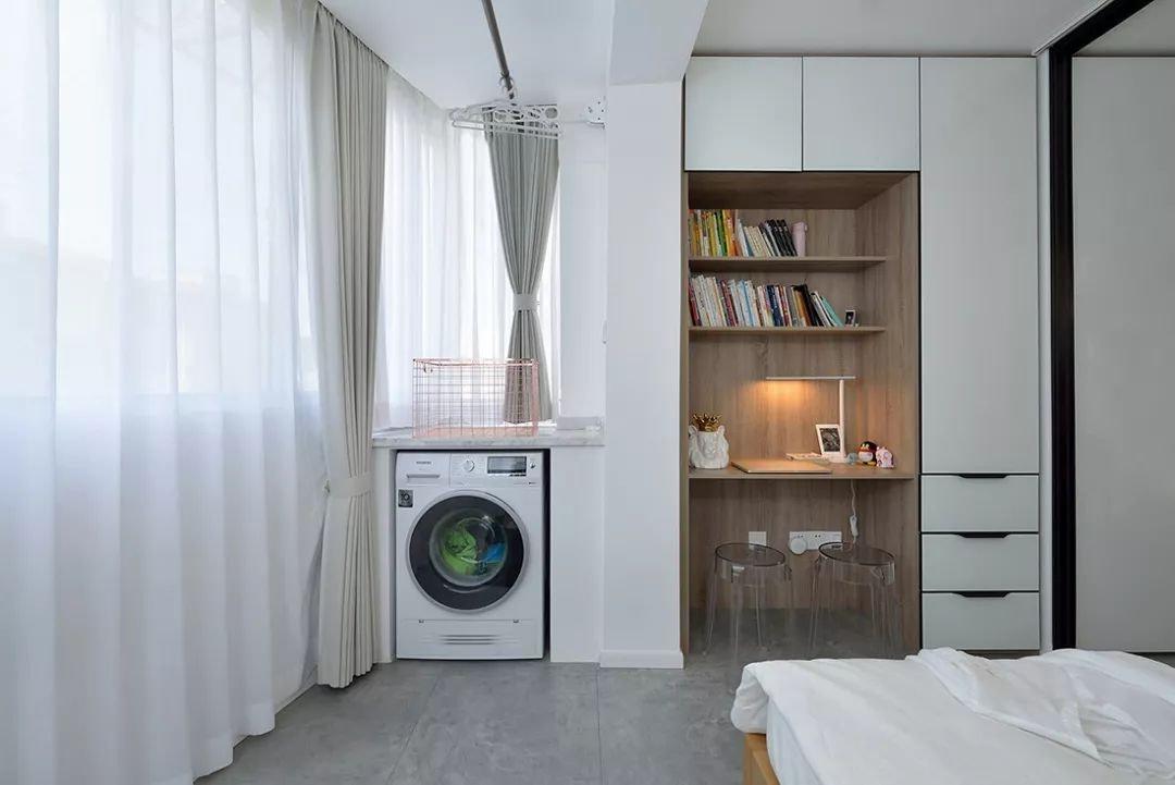 小户型简约北欧风卧室书柜装修设计图
