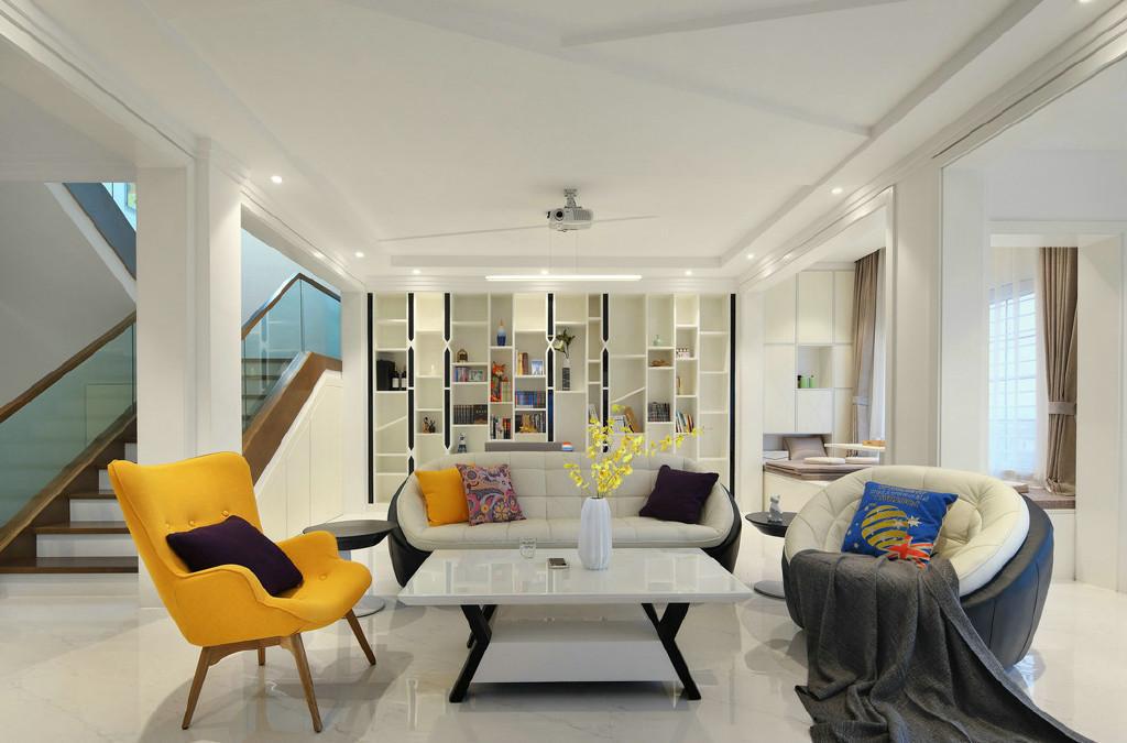 现代简约复式别墅客厅装修效果图