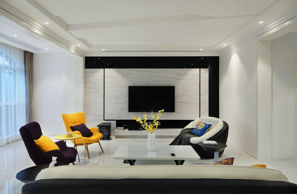 简约风格三居室电视背景墙装修效果图