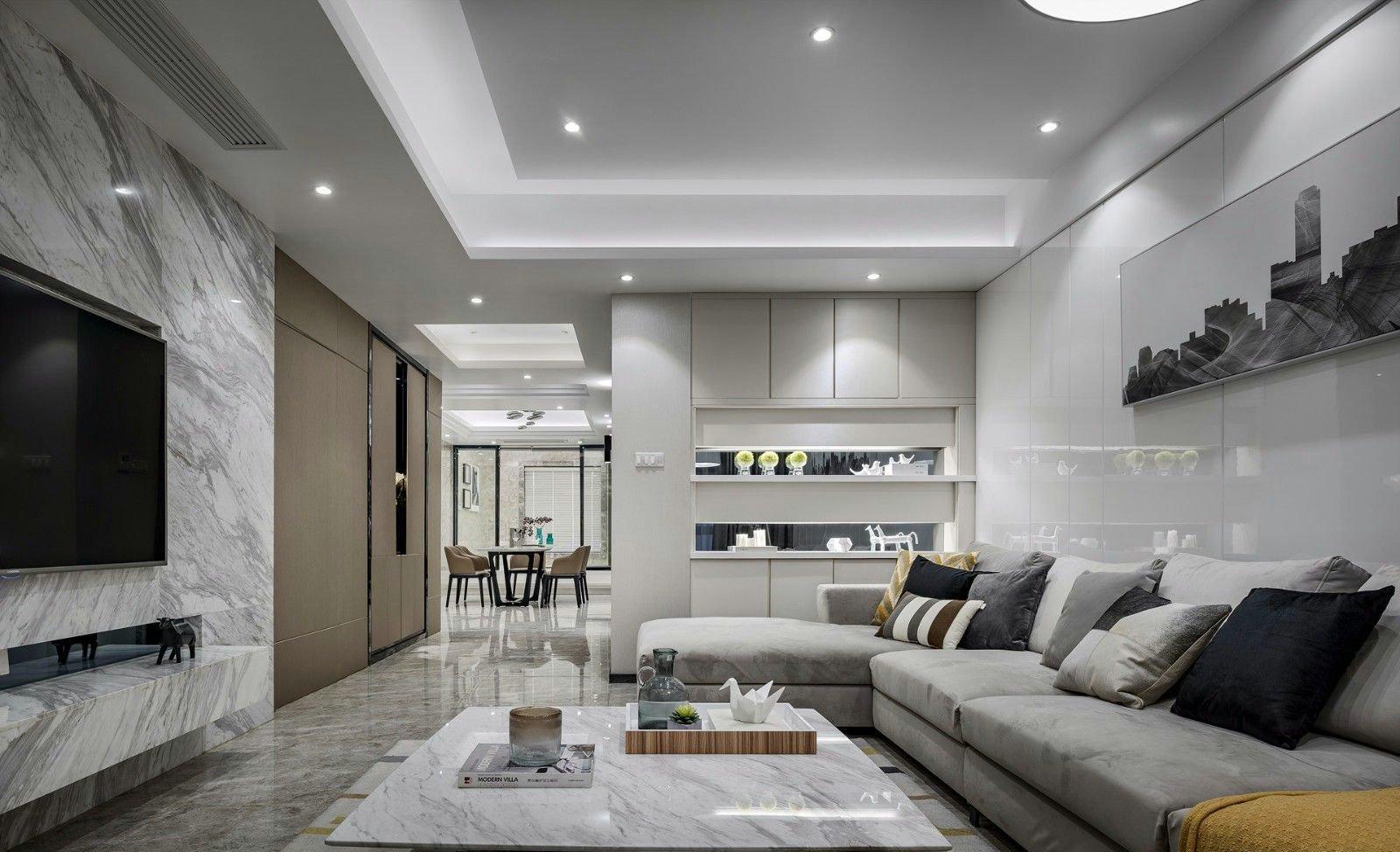 140平现代简约风格客厅吊顶装修效果图