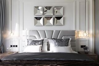 大户型混搭风格卧室背景墙装修设计图