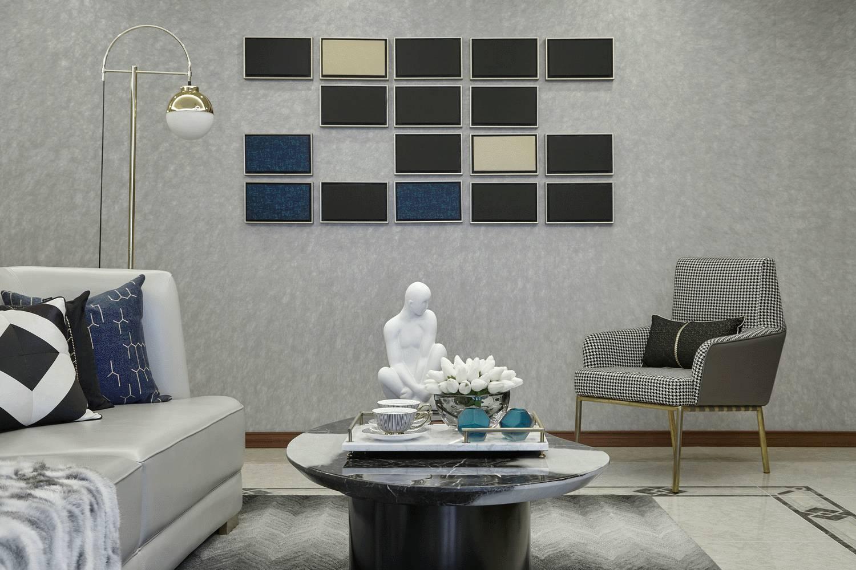 现代轻奢风格三居过道墙面装修效果图