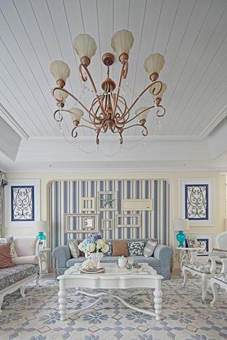 大户型地中海风格沙发背景墙装修效果图