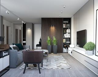 现代简约公寓客厅装修设计效果图