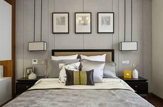 110平新中式风格卧室背景墙装修效果图