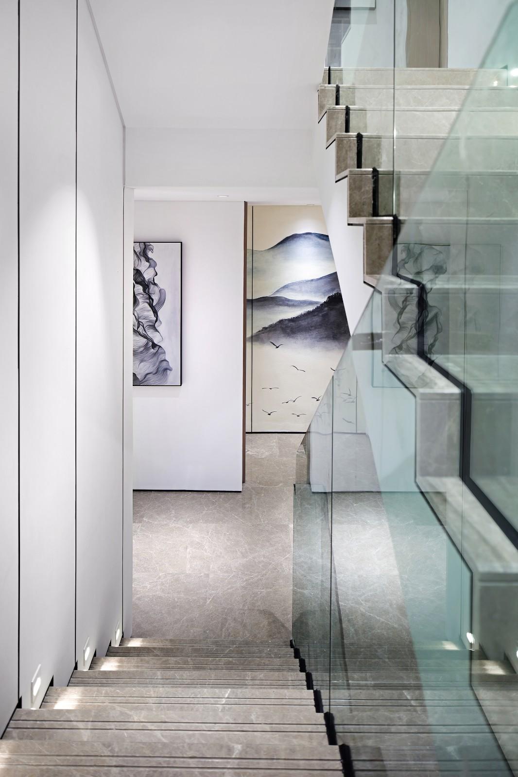 200㎡新中式风格楼梯装修效果图