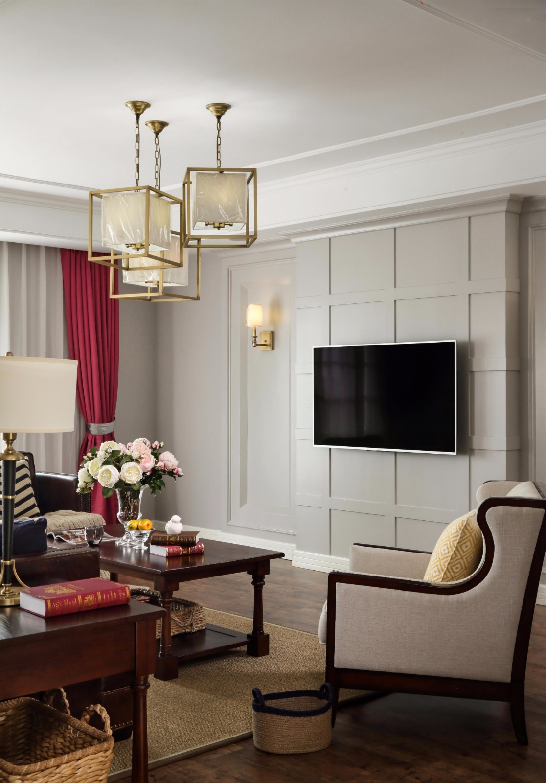110平美式电视背景墙装修效果图