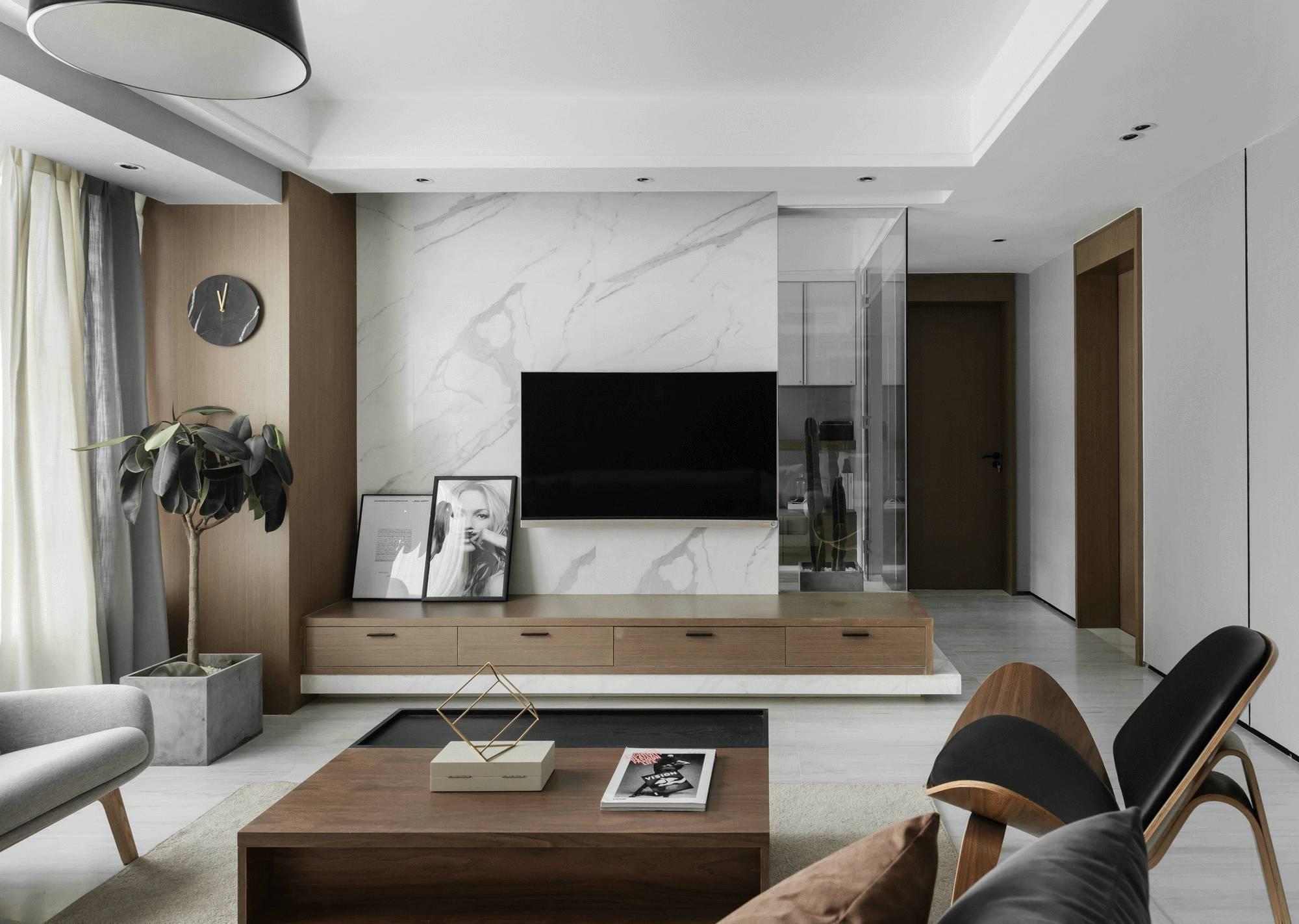 120平现代简约客厅装修设计图