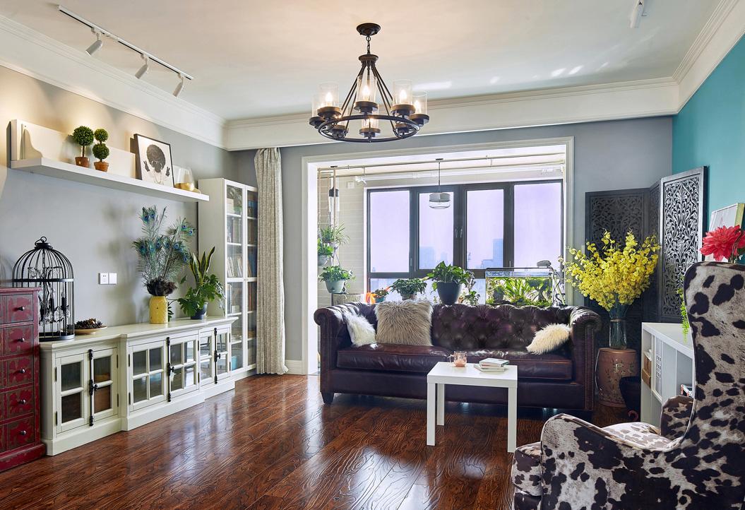 美式混搭风格客厅装修效果图
