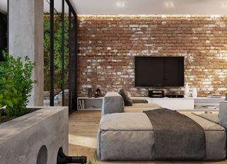 复古工业风格公寓电视背景墙装修效果图