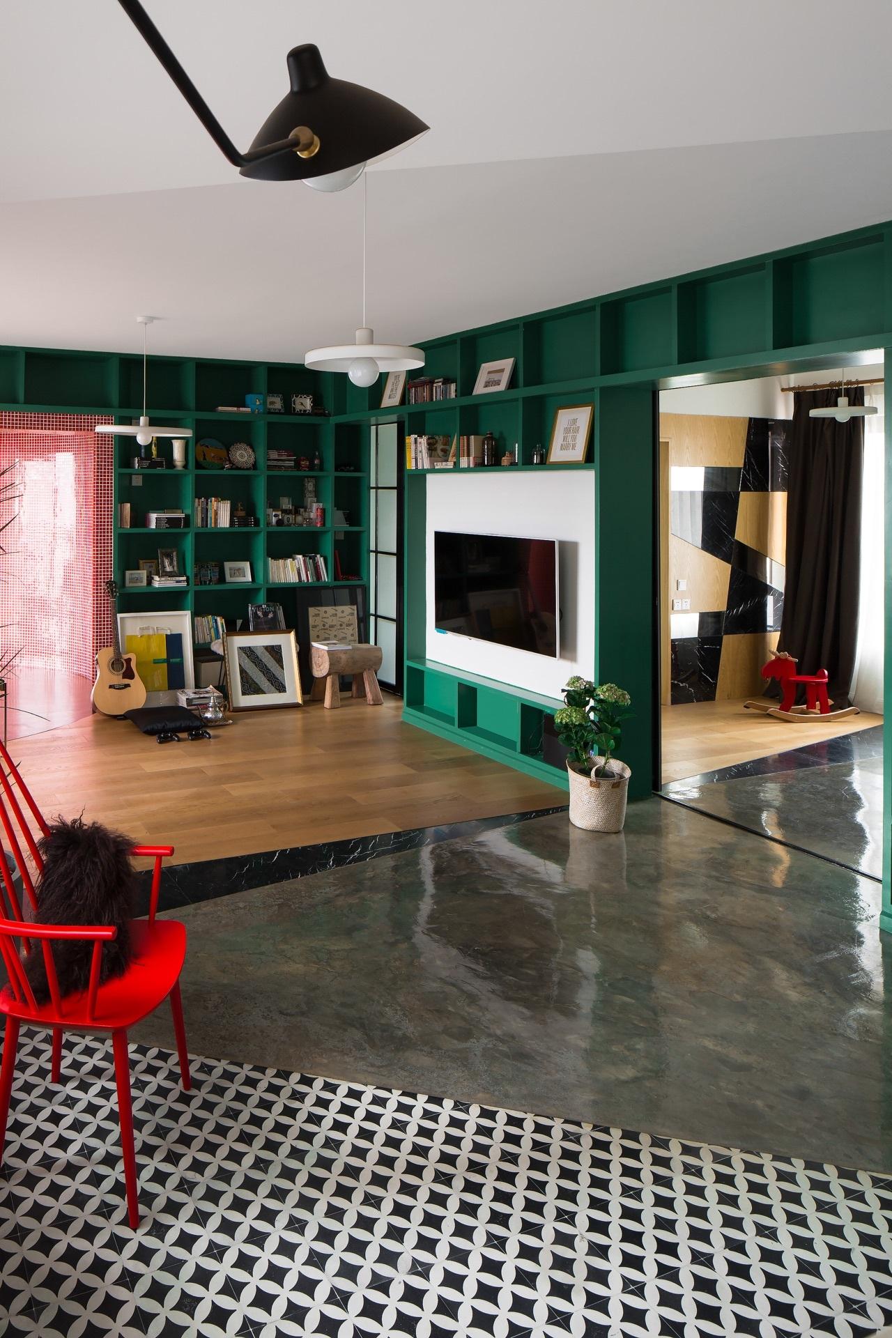 120平混搭风格客厅装修效果图