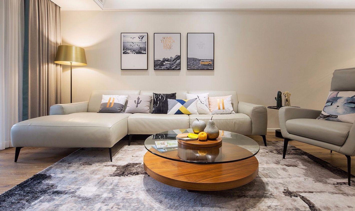 127㎡现代简约沙发背景墙装修效果图