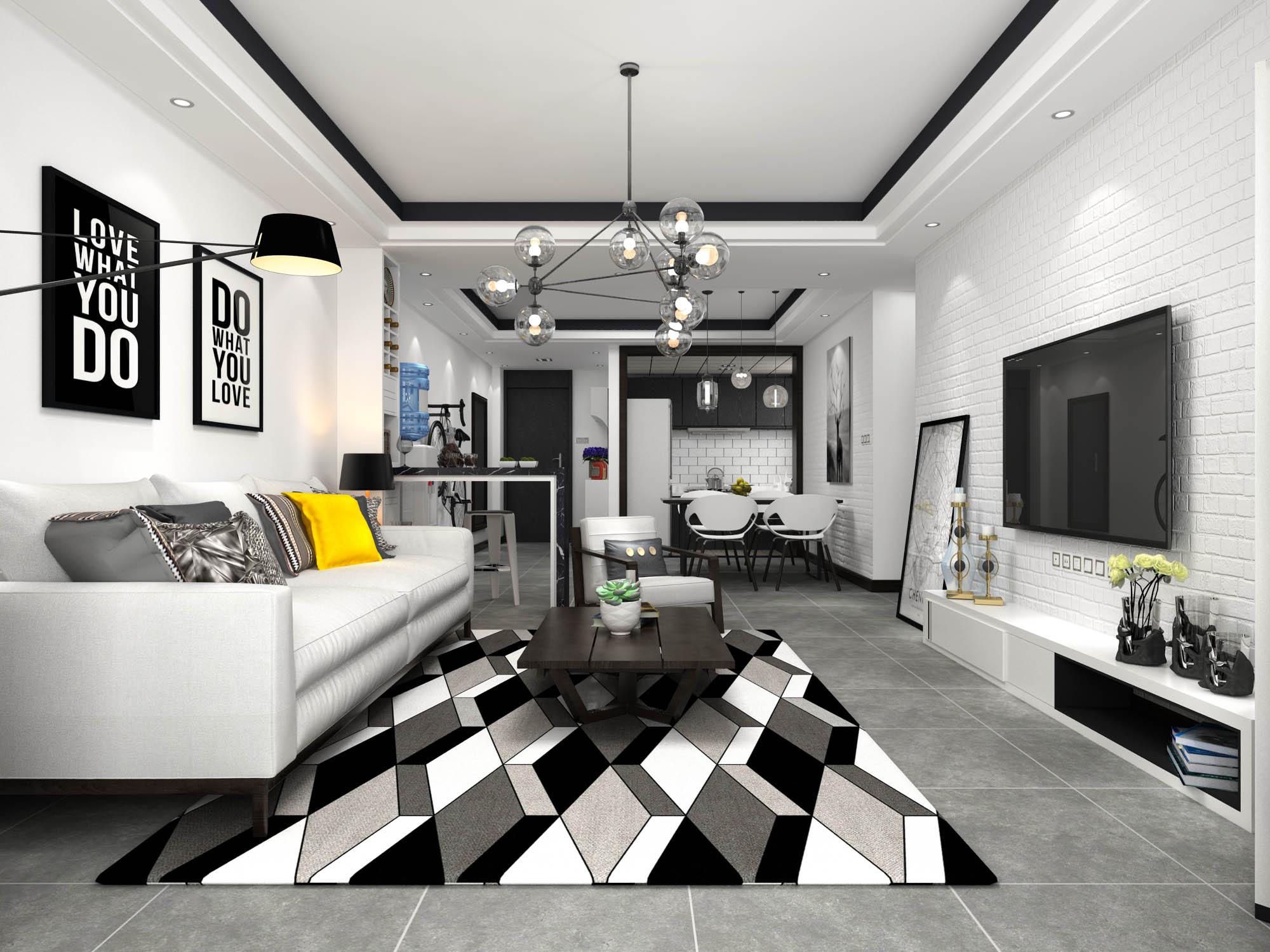 黑白灰北欧风格客厅装修效果图