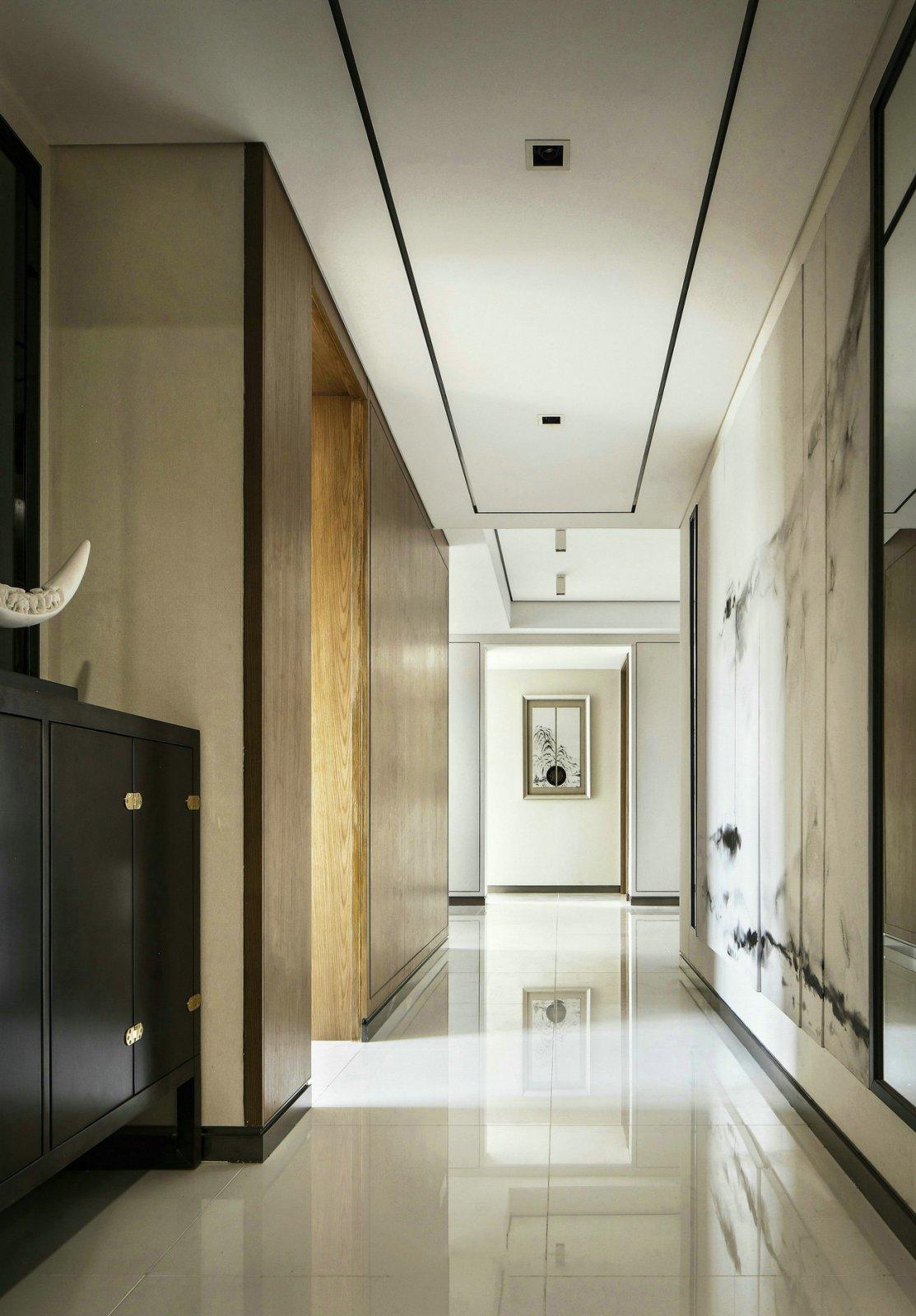 135㎡新中式玄关走廊装修效果图