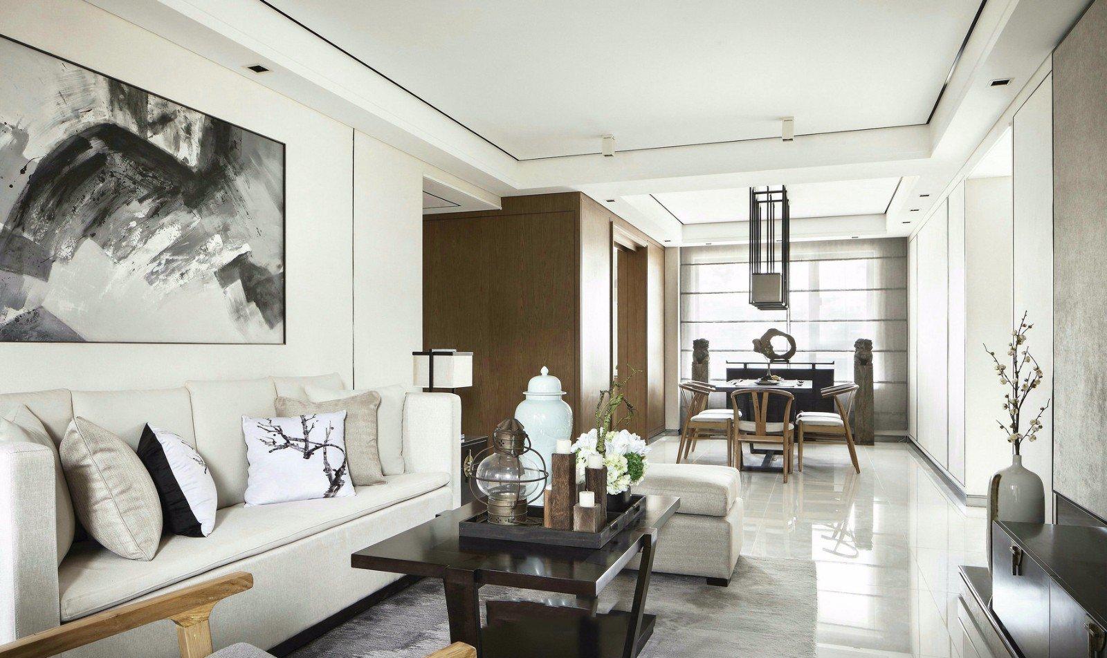 135㎡新中式客厅装修效果图