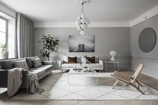 高级灰现代公寓沙发背景墙装修效果图