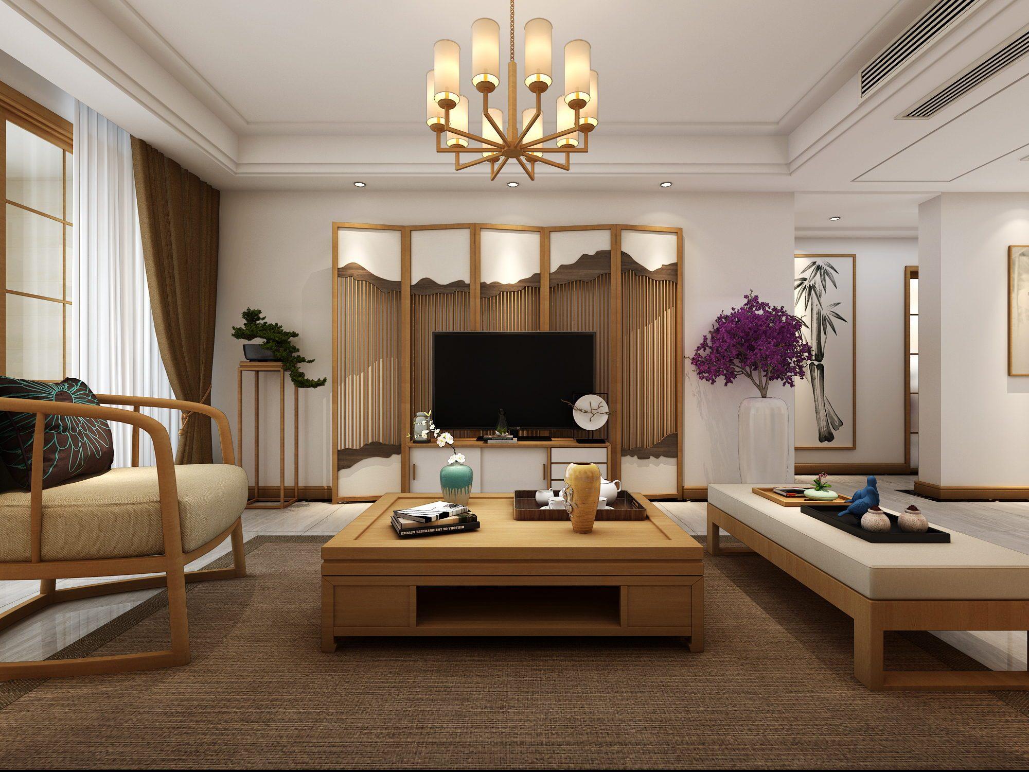 日式风格电视背景墙装修设计效果图