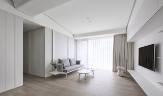 极简风白色公寓客厅装修效果图