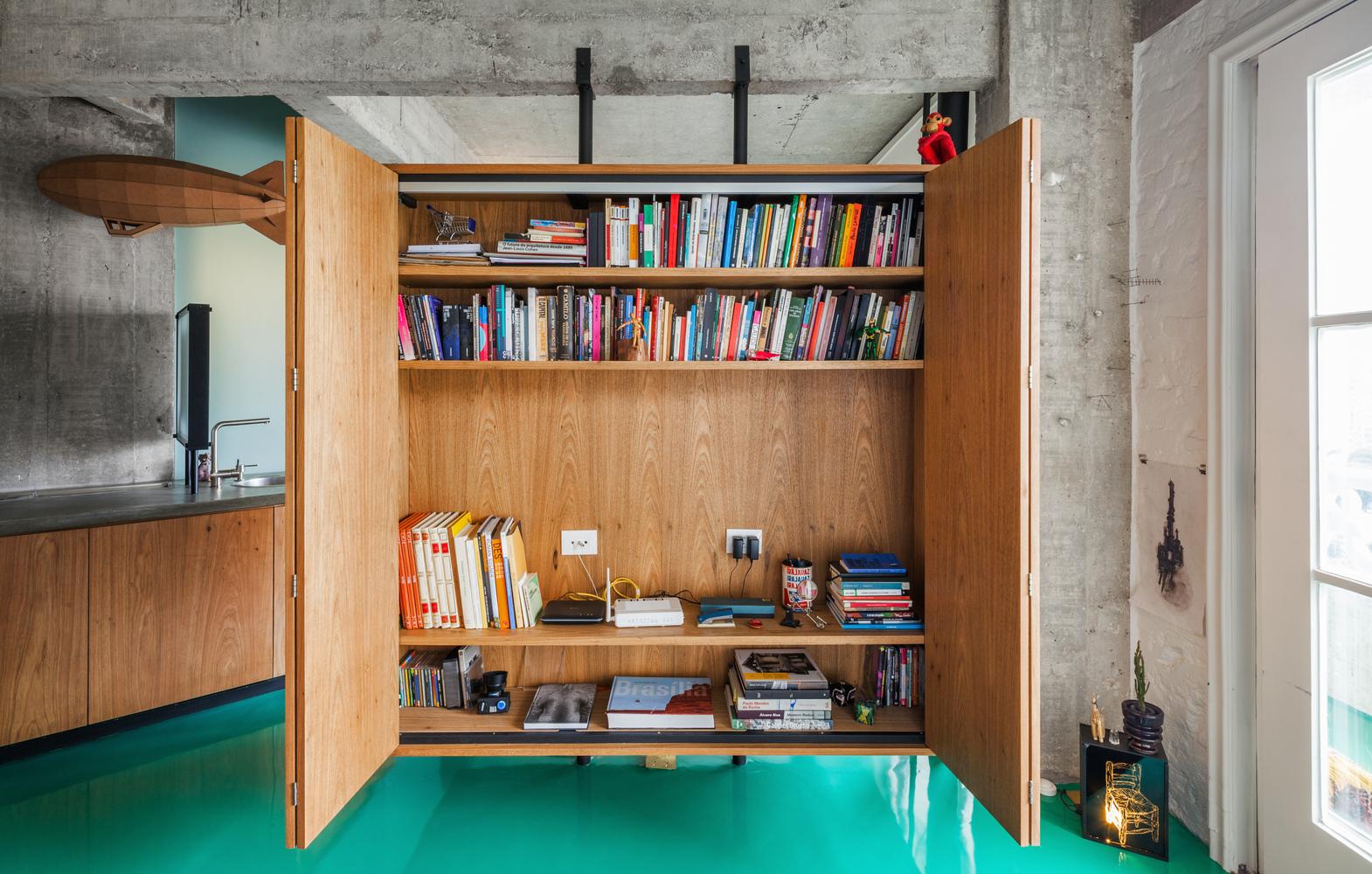 40平米水泥公寓书柜装修效果图