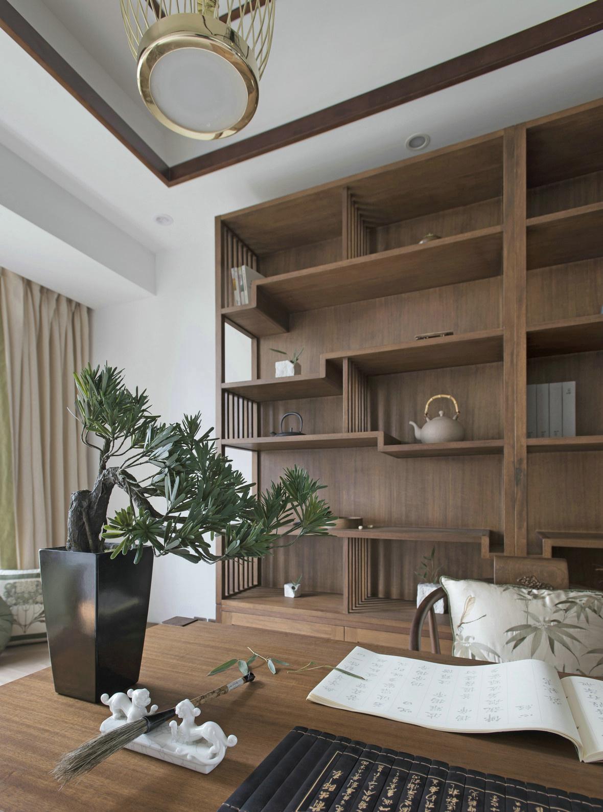 禅意新中式风格书房装修效果图