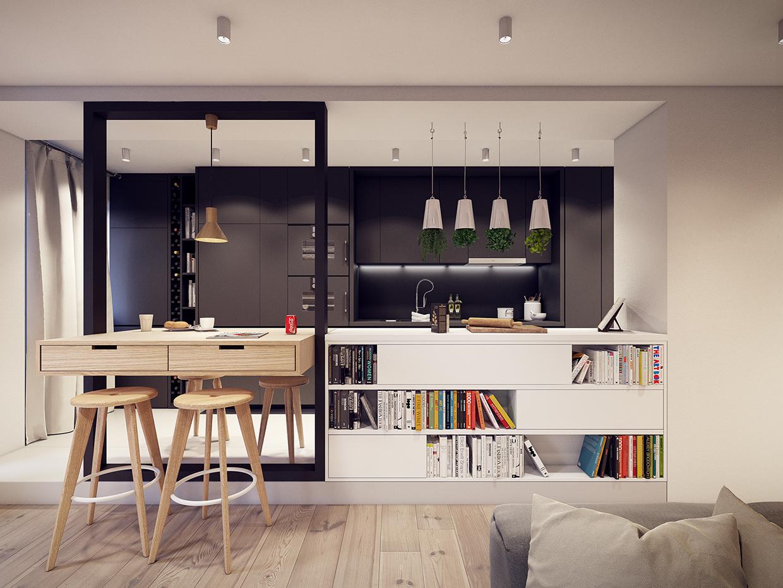 60㎡现代公寓装修书架设计图