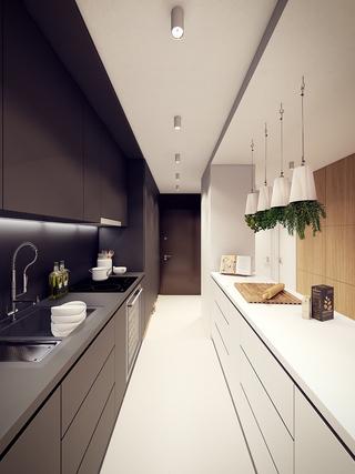 60㎡现代公寓厨房装修效果图