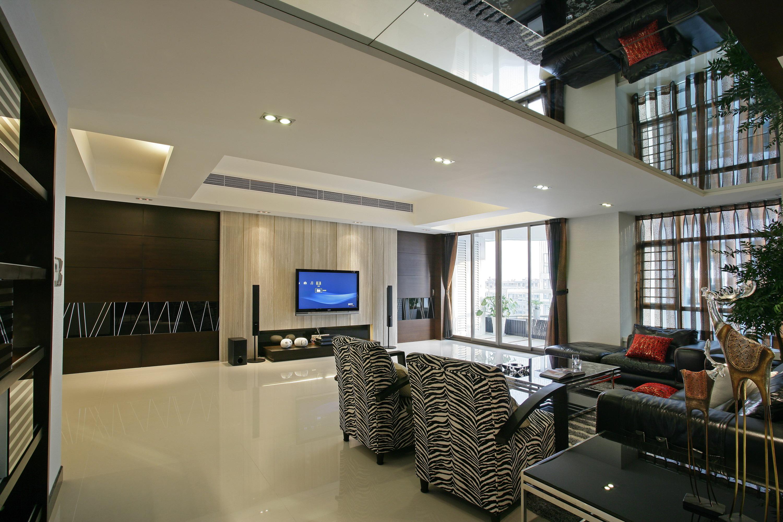 现代简约四房客厅吊顶装修效果图