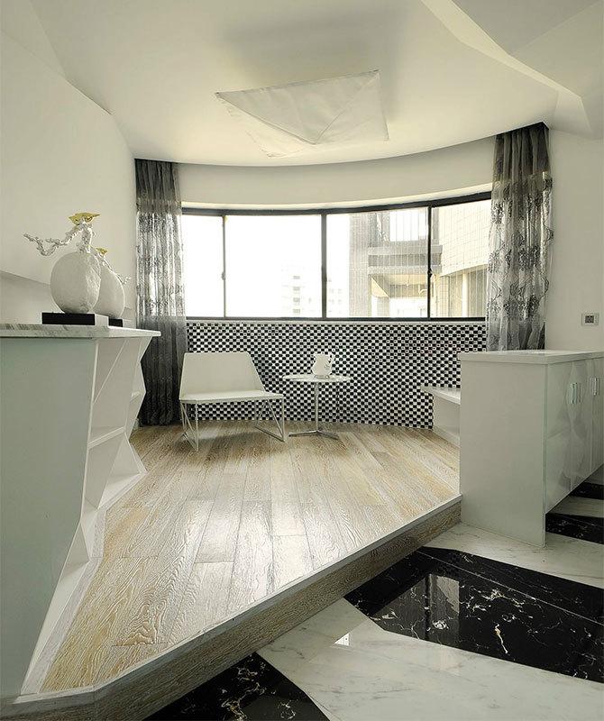 黑白简约现代风格地台装修效果图