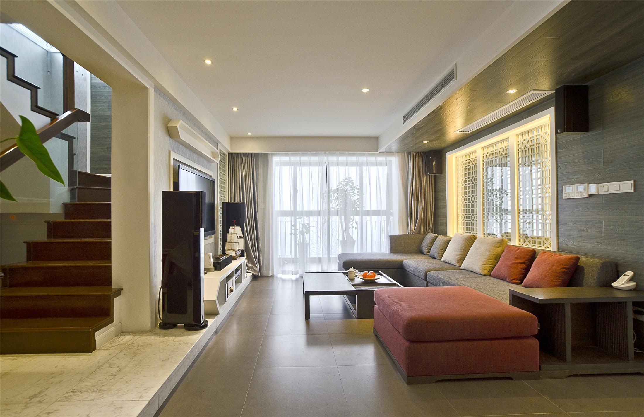现代中式复式客厅装修效果图