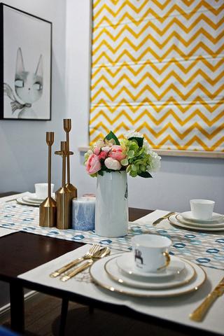 90㎡北欧风格装修餐桌摆件特写