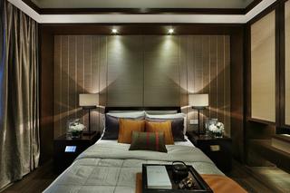 现代中式别墅卧室背景墙装修效果图