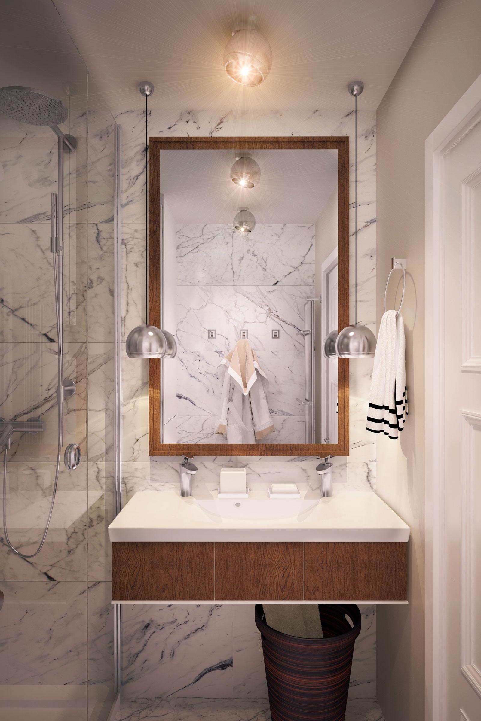 现代简约风公寓洗手台装修效果图