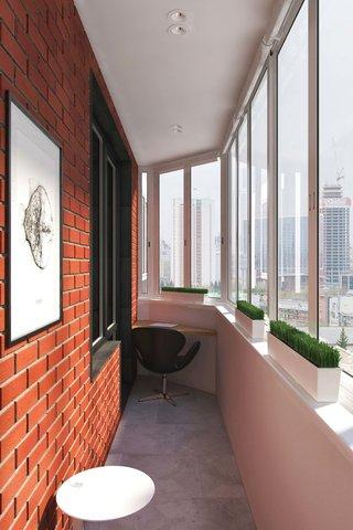110㎡现代风公寓阳台装修效果图