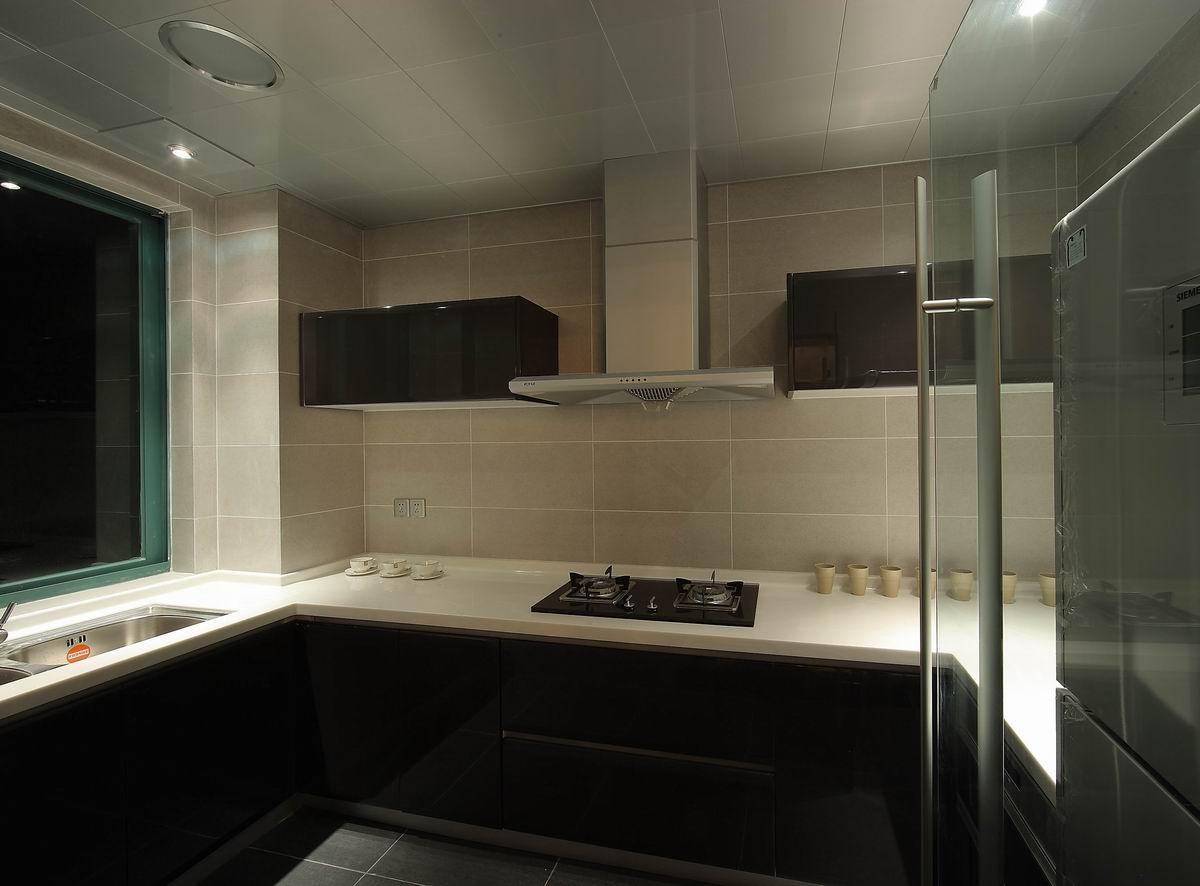 灰色现代简约三居厨房装修效果图
