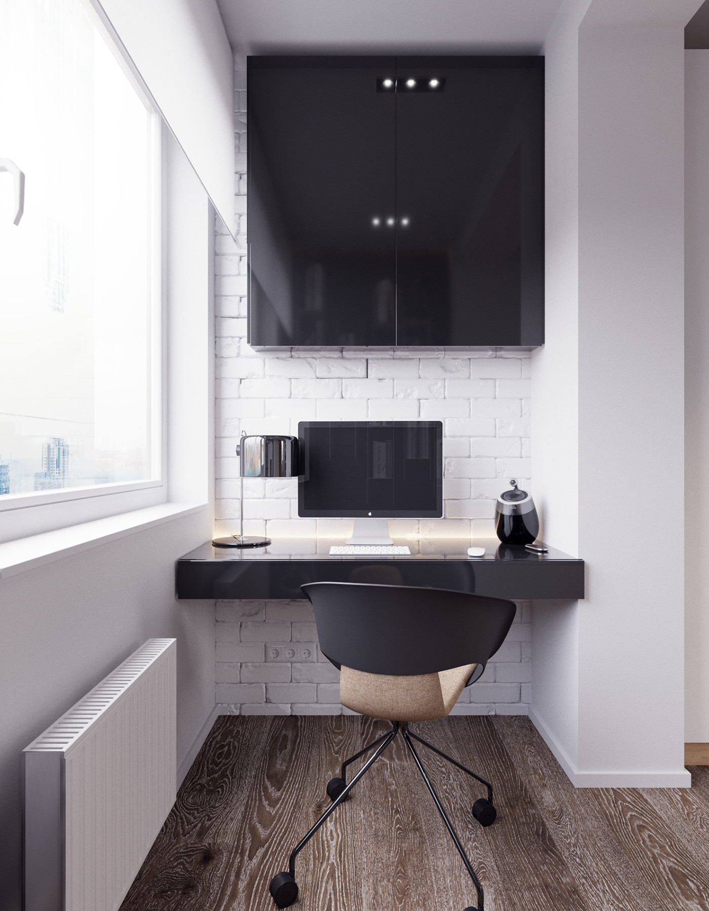 66平现代简约公寓阳台工作区装修效果图