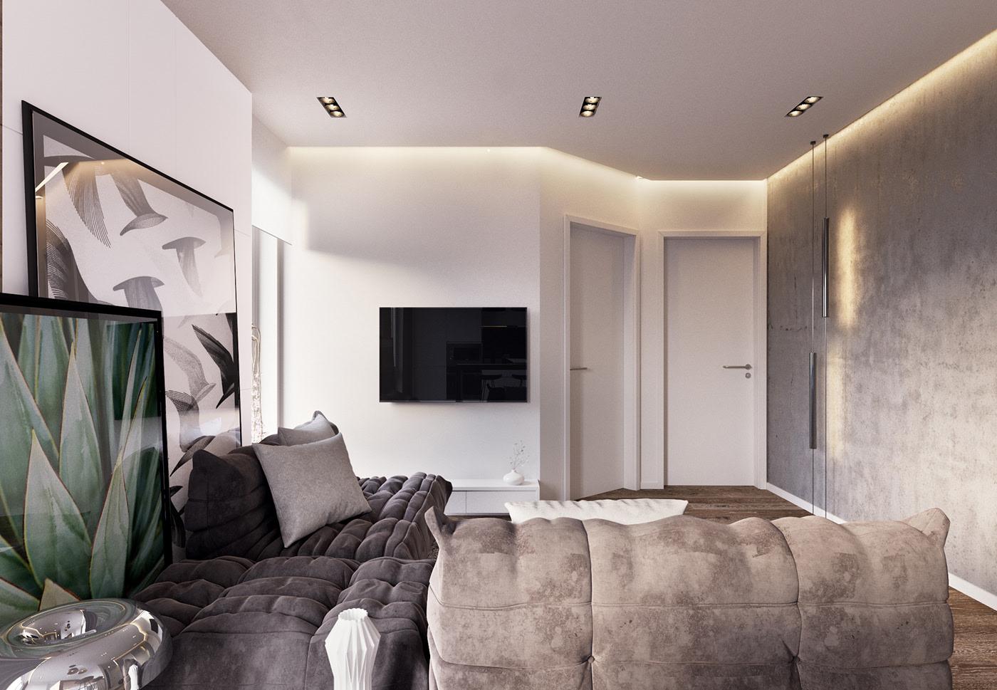 66平现代简约公寓客厅装修效果图