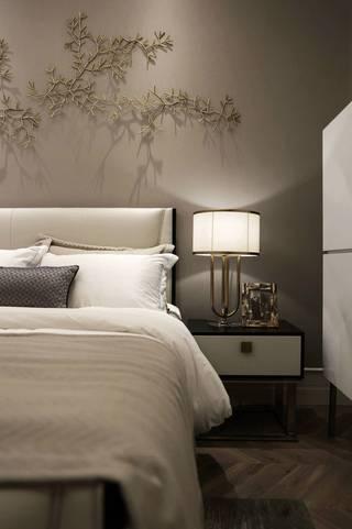 现代轻奢样板房装修床头特写